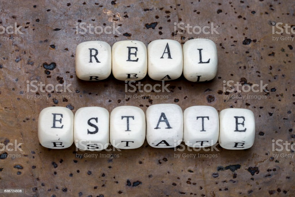 Real estate text stock photo