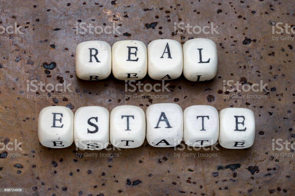 Real estate text stock photo