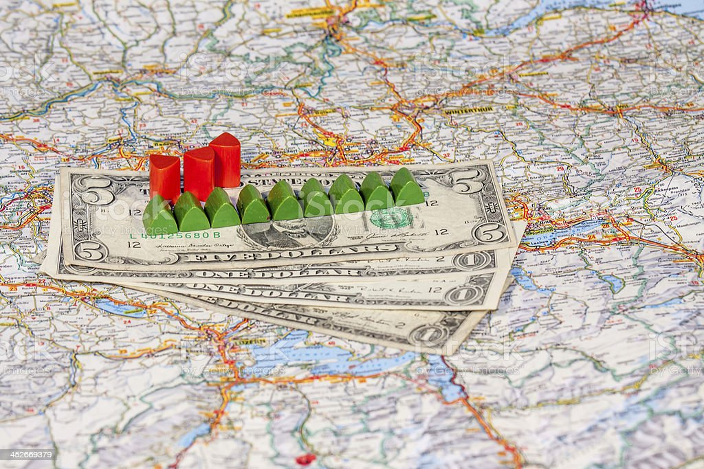 Real Estate with houses, money stock photo