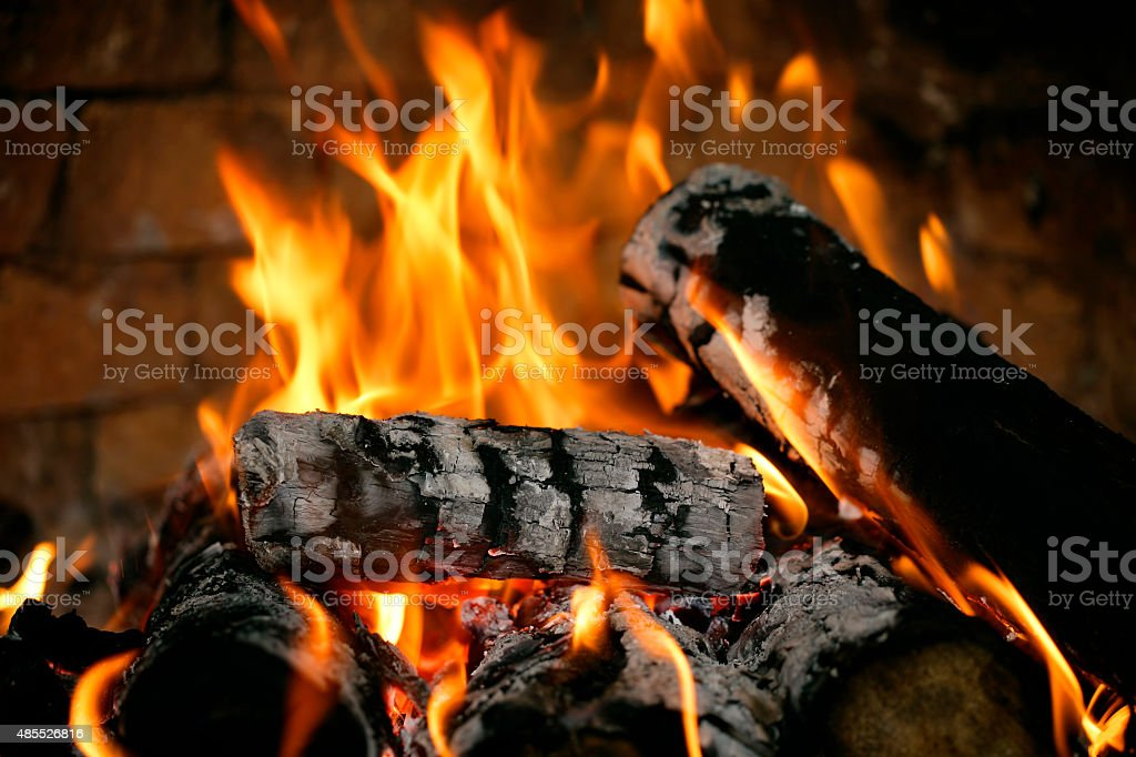 Real fire close-up stock photo