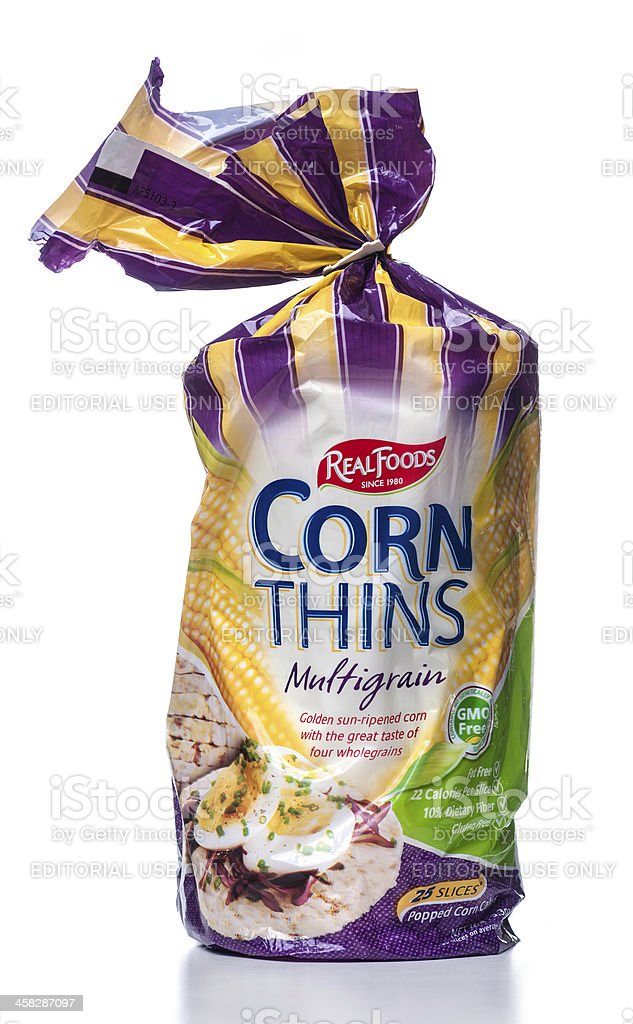 Real Foods Corn Thins Organic Multigrain package stock photo