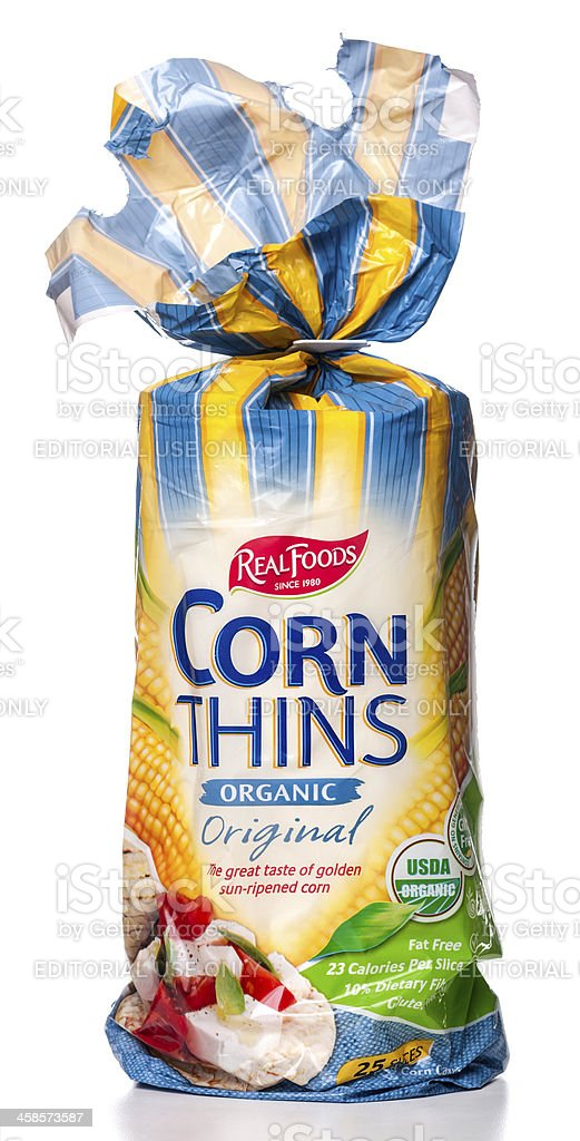 Real Foods Corn Thins Organic Original package stock photo