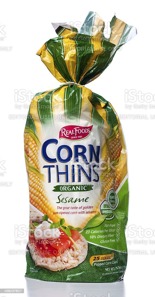 Real Foods Corn Thins Organic Sesame package stock photo