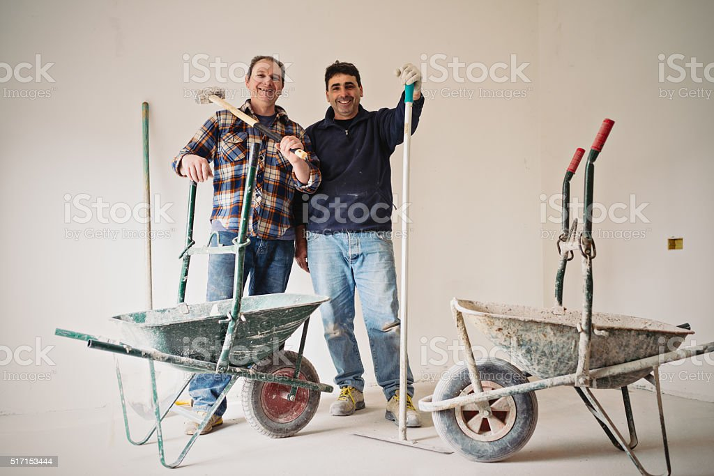 Real Italian workers after work stock photo