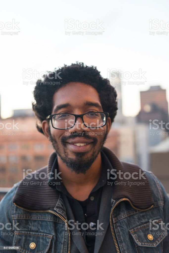 Real life African American young man stock photo
