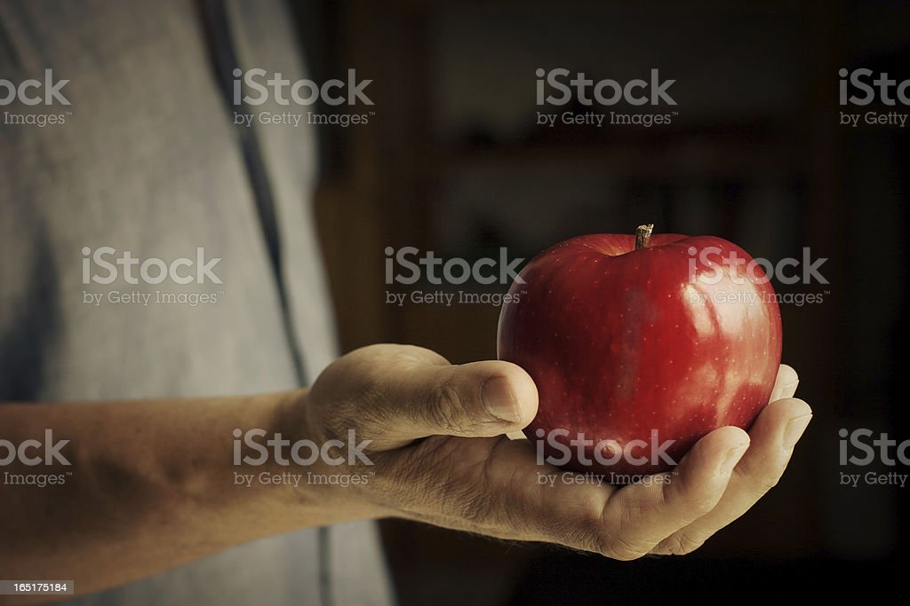 Real Man Hand Offering a Red Apple royalty-free stock photo