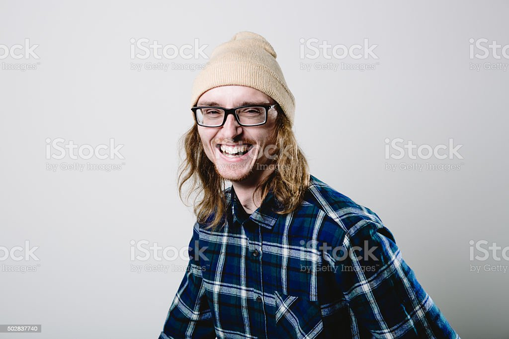 Real Man Laughing Portrait stock photo
