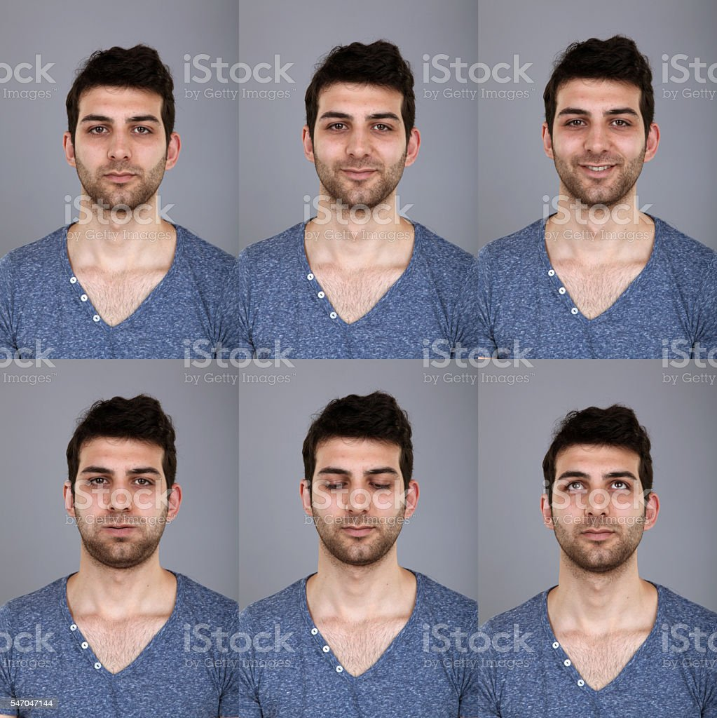 Real man making six different facial expressions stock photo