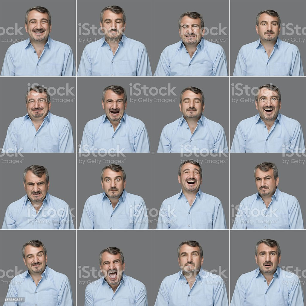 Real man multiple expressions stock photo
