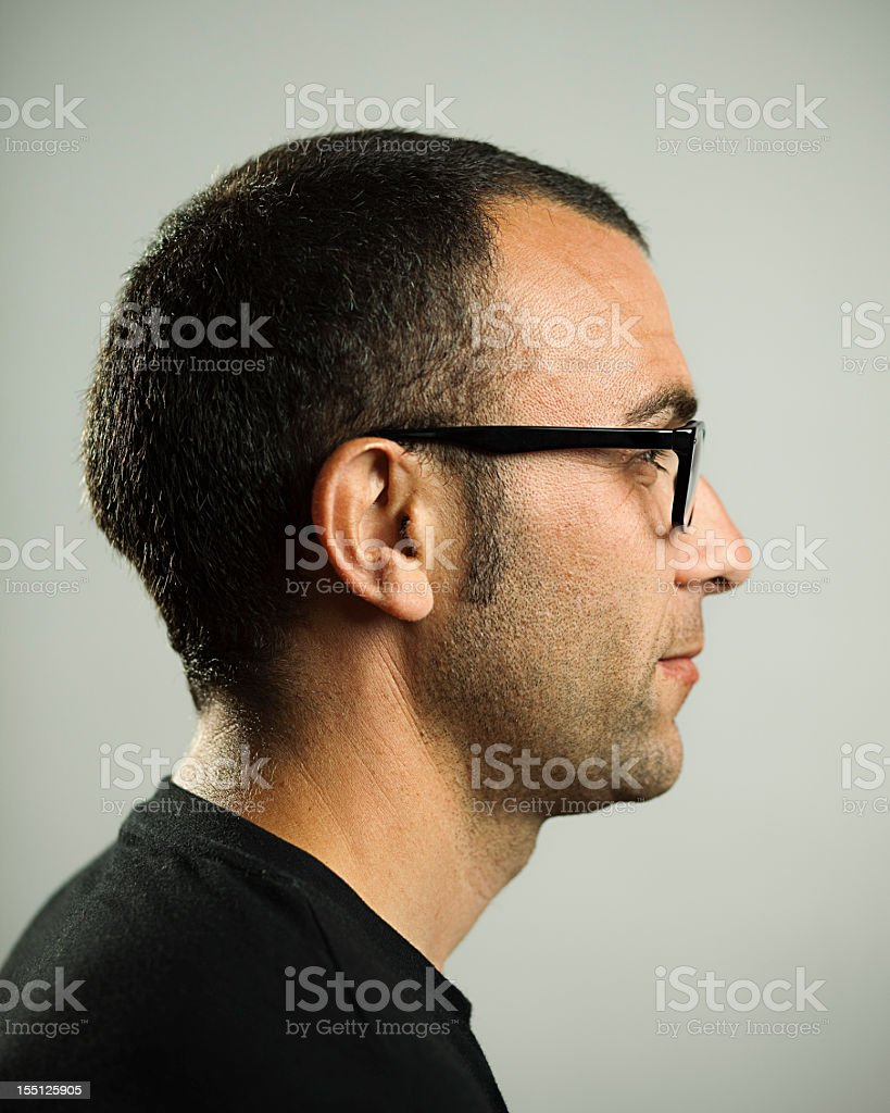 Real man profile royalty-free stock photo
