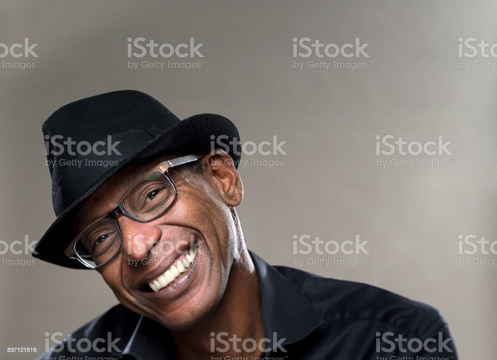 Real  Man with cheerful  Expression stock photo