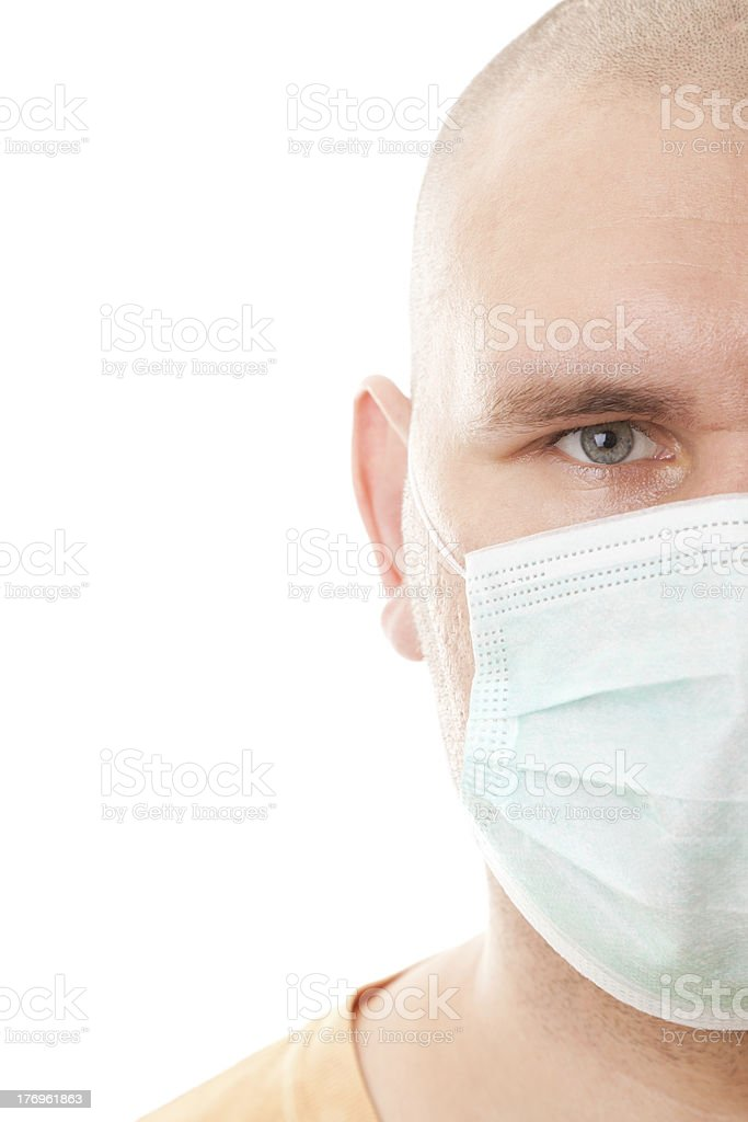 Real men in surgical mask stock photo
