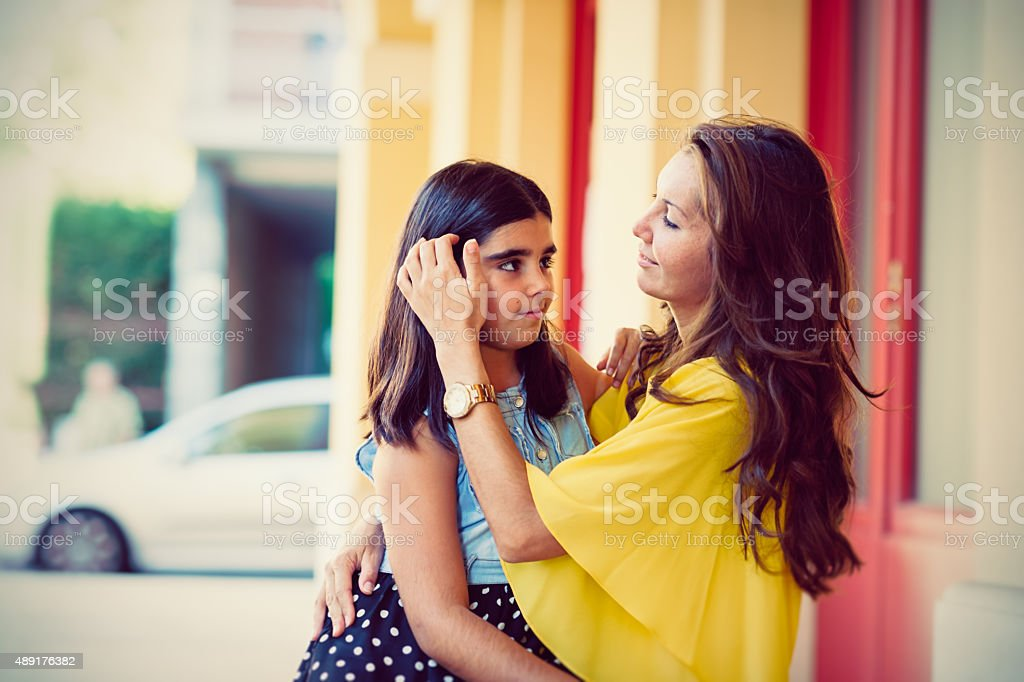 Real mother with daughter stock photo