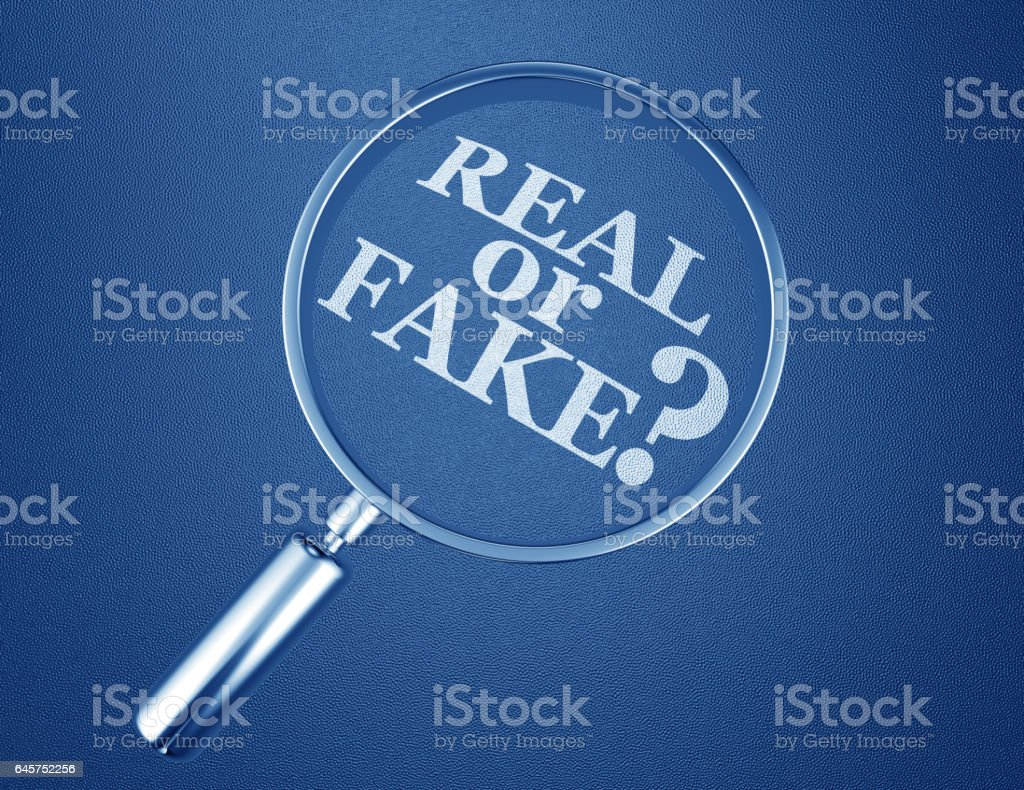 Real or Fake Magnifying Glass Lies Wrong Information 3d Illustration stock photo