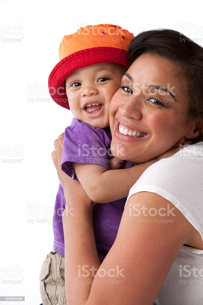 Real People: Black African American Mother Hugging Toddler Boy royalty-free stock photo