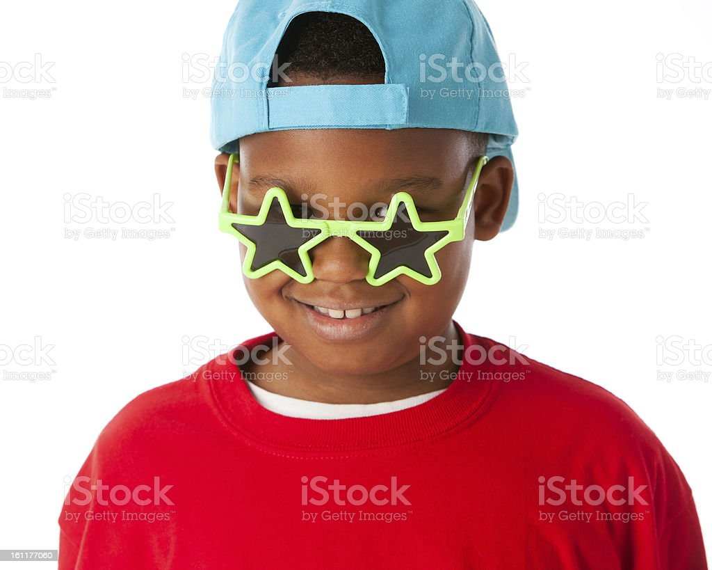Real People: Black Little Boy Wearing Silly Sunglasses Baseball royalty-free stock photo