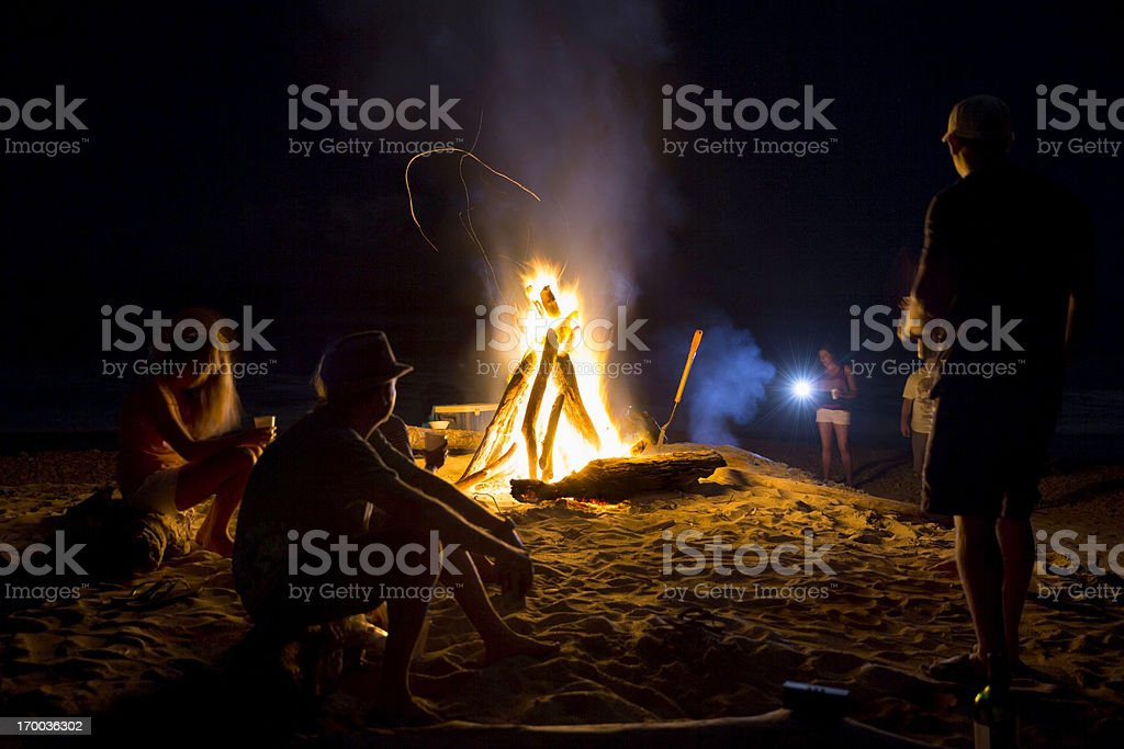 Real People: BonFire on the Beach stock photo