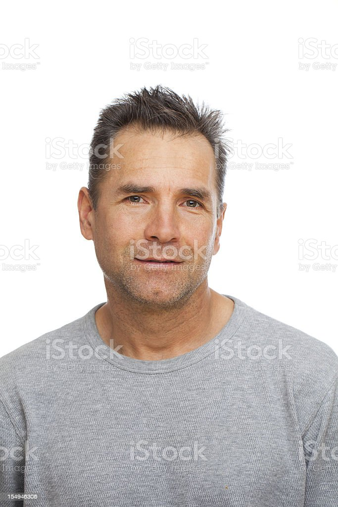 Real people: casual portrait of a caucasian man on white stock photo