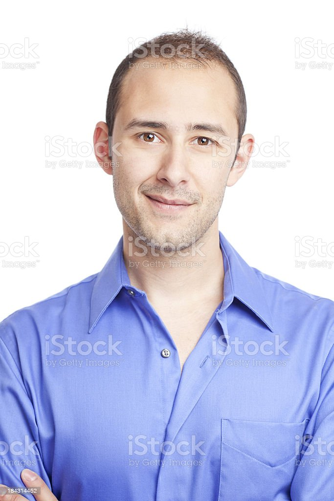 Real people: casual portrait of a man on white royalty-free stock photo