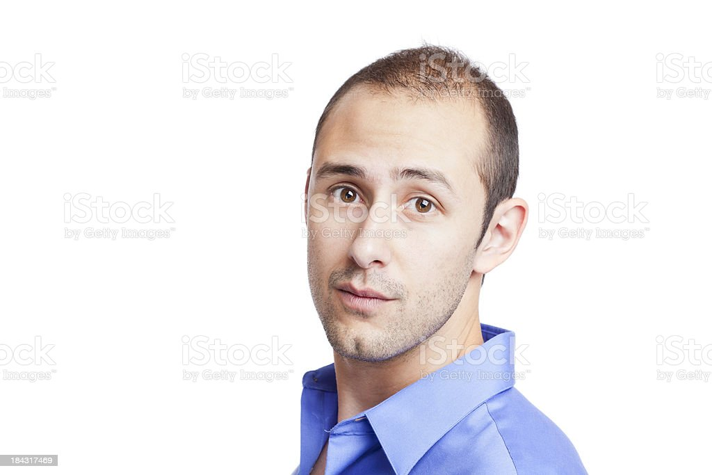 Real people: casual portrait of a man on white stock photo