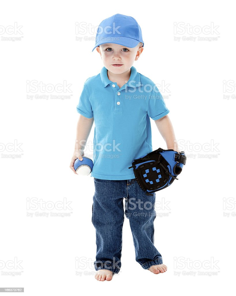 Real People: Caucasian Little Boy Playing Baseball royalty-free stock photo