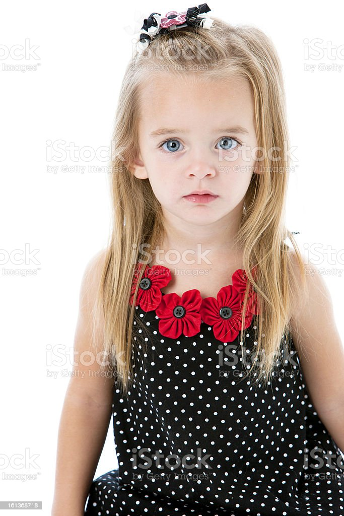 Real People: Caucasian Little Girl with Sad Expxression royalty-free stock photo