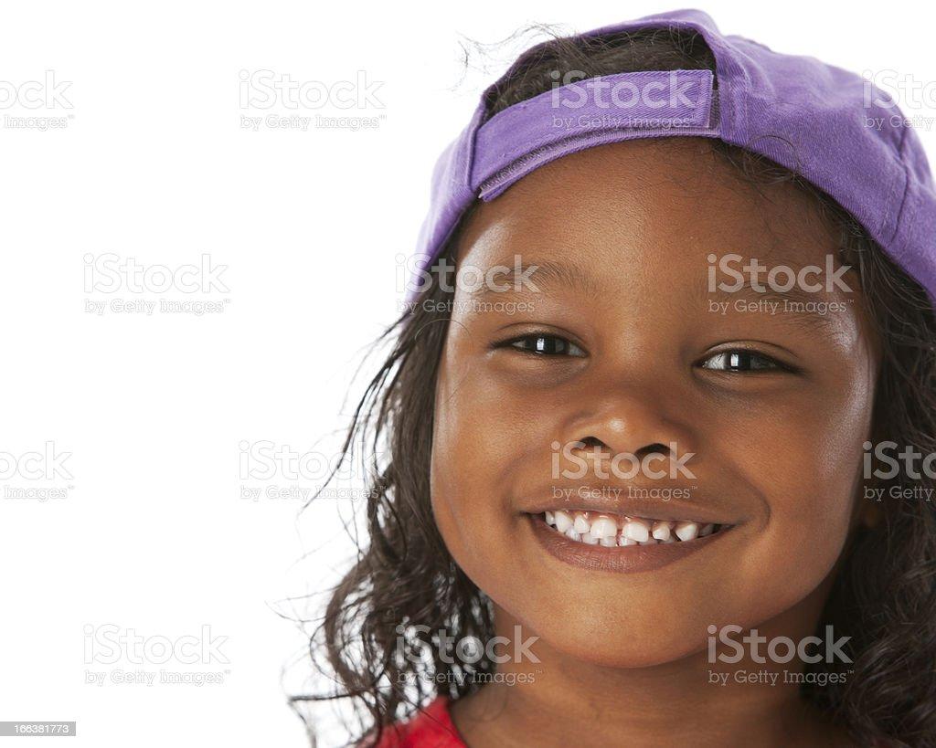 Real People: Closeup Headshot Mixed Race Little Boy Long Hair royalty-free stock photo