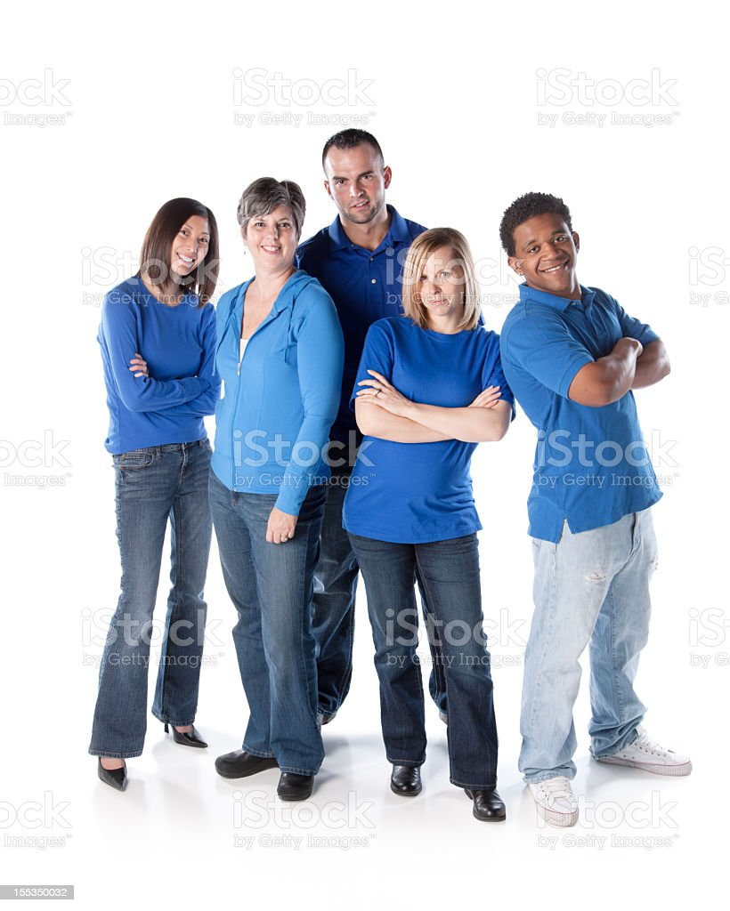 Real People: Group Diverse Adults Standing Together Full Length Blue royalty-free stock photo