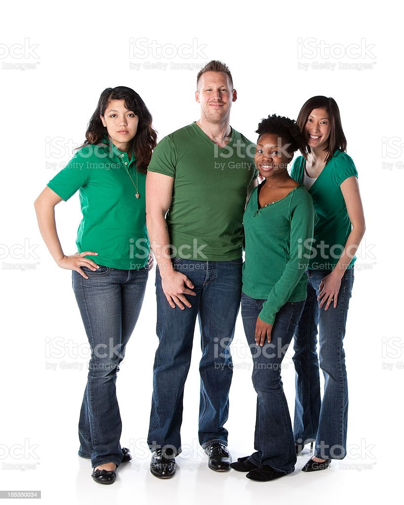 Real People: Group Diverse Adults Standing Together Full Length Green royalty-free stock photo