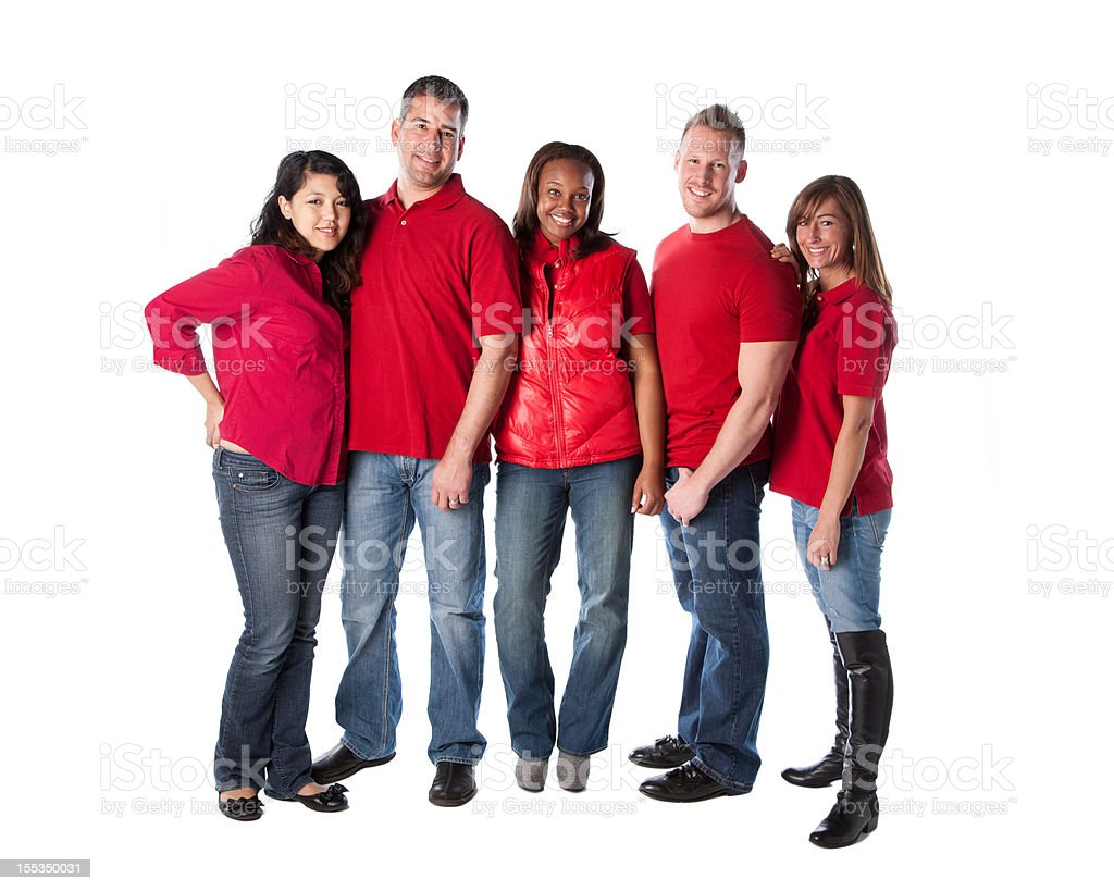 Real People: Group Diverse Young Adults Full Length Red royalty-free stock photo