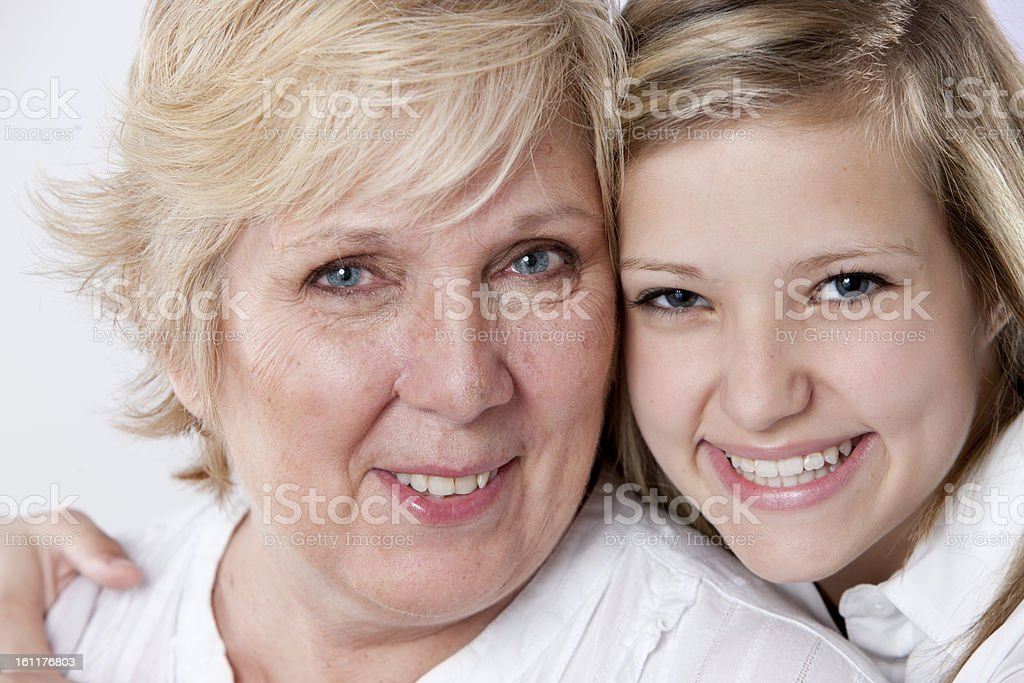 Real People:  Head Shoulders Caucasian Grandmother and Granddaughter Family royalty-free stock photo