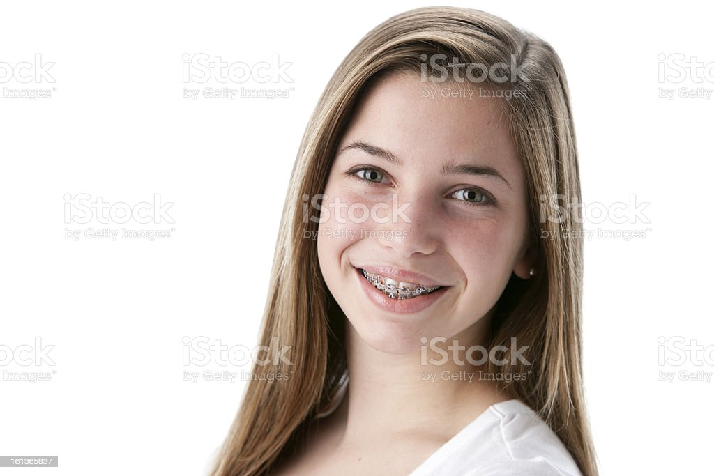 Real People: Head Shoulders Caucasian Smiling Teenage Girl royalty-free stock photo