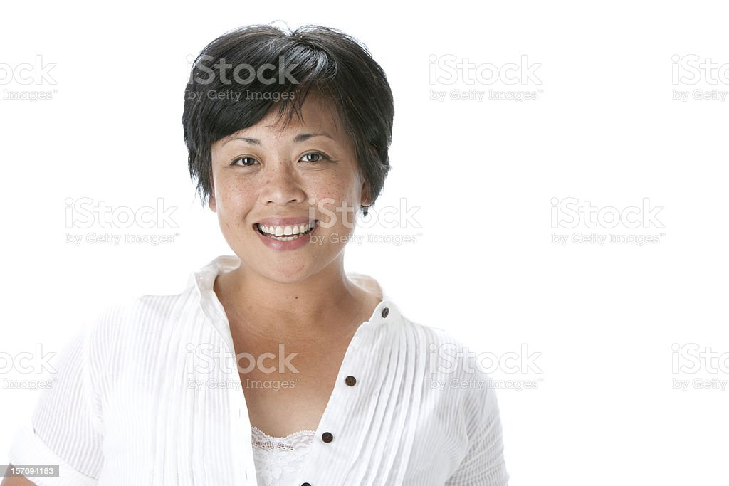 Real People: Head Shoulders Smiling Asian Adult Woman royalty-free stock photo