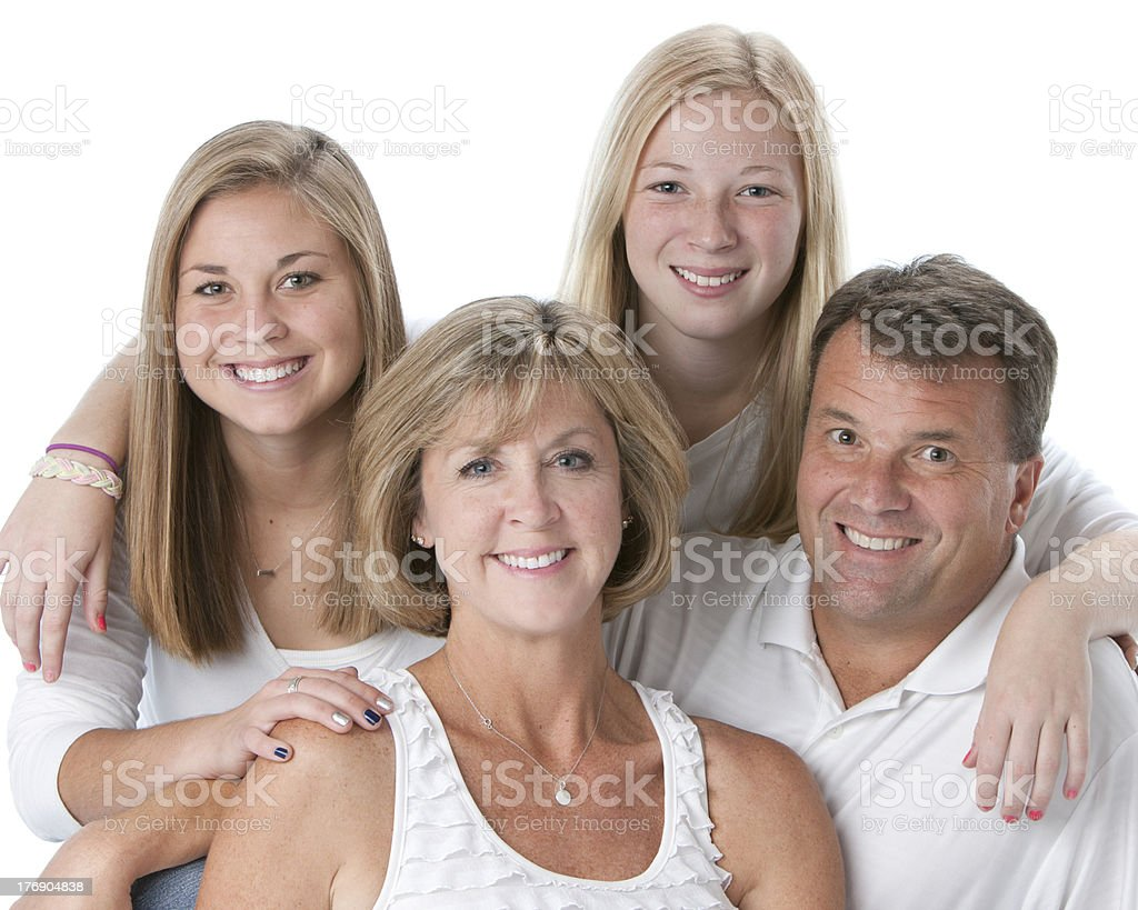 Real People: Head Shoulders Smiling Caucasian Family Mother Father Daughters royalty-free stock photo