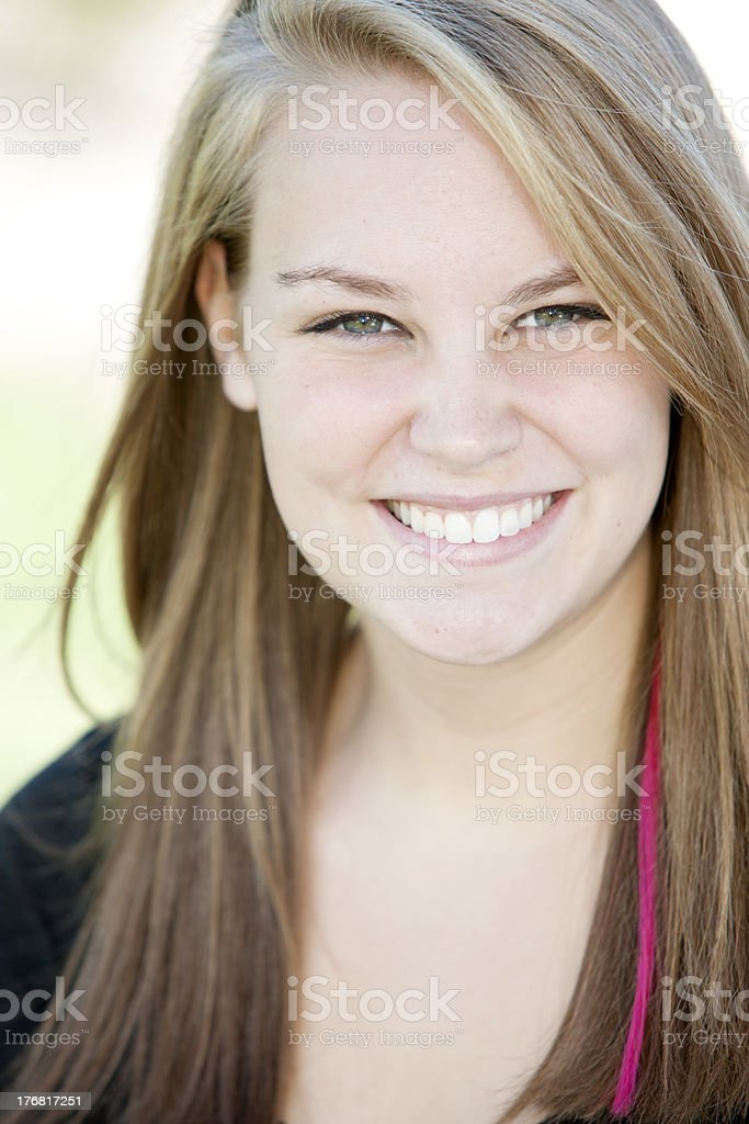 Real People: Head Shoulders Smiling Caucasian Teenage Girl royalty-free stock photo