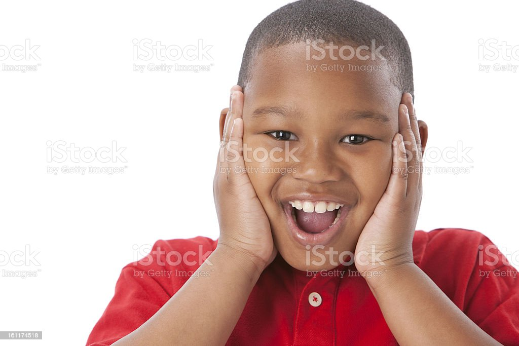 Real People: Headshot African American Boy Happy Surprised royalty-free stock photo