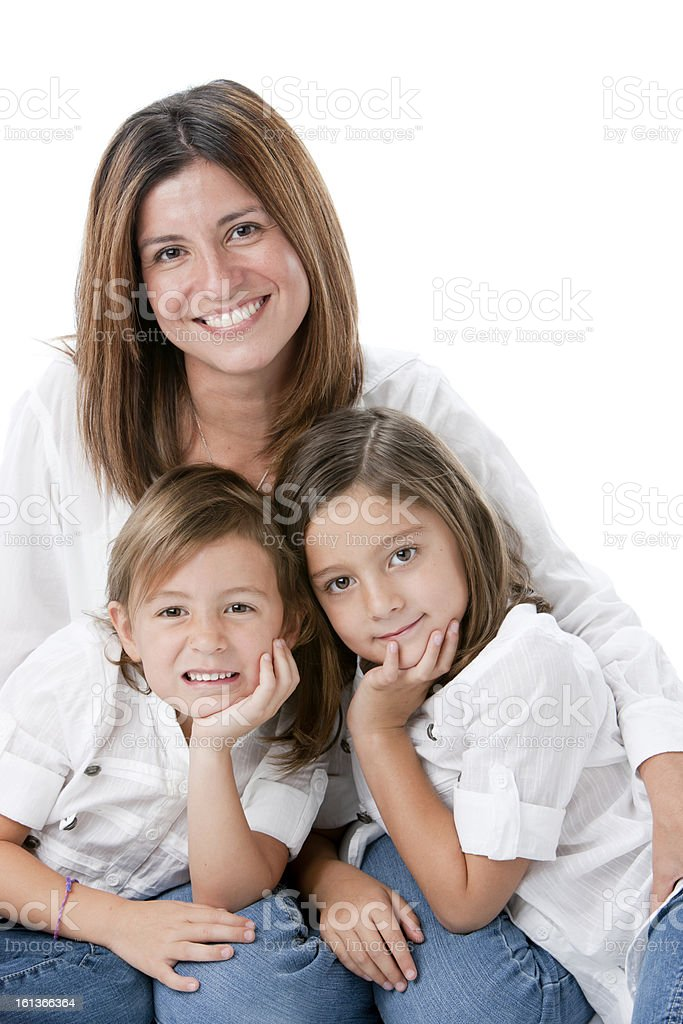 Real People: Hispanic Family Mother Daughters Children royalty-free stock photo