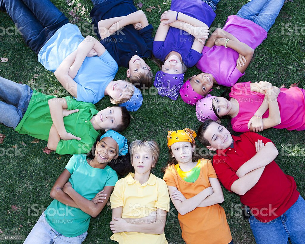 Real People: Large Group Children Circle Friends Together Diversity royalty-free stock photo