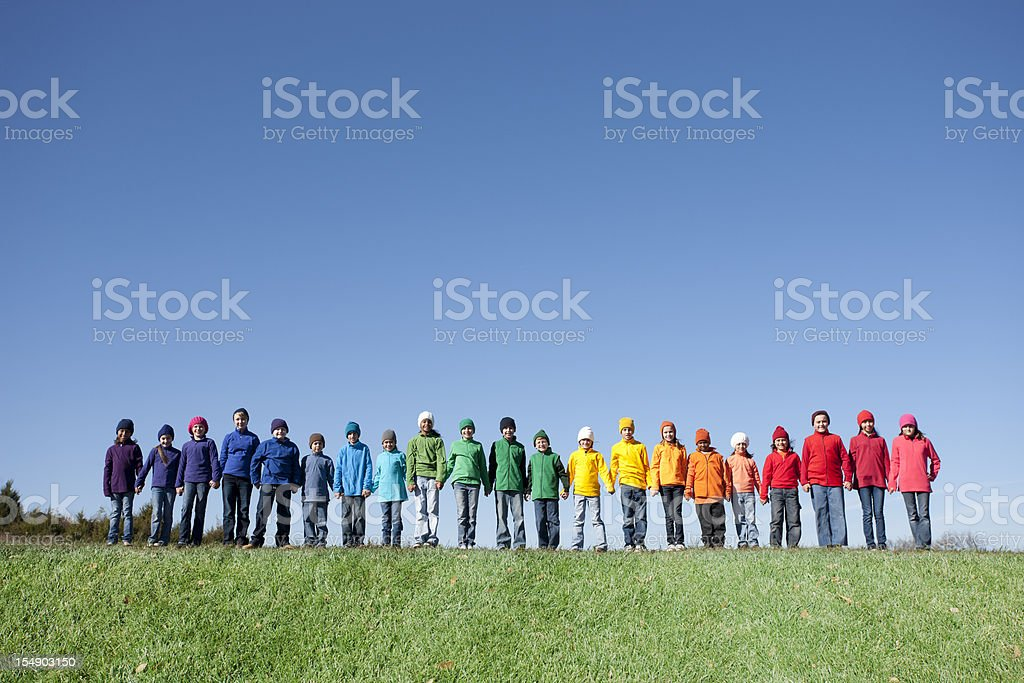Real People: Large Group Children Together Outdoors Friends Diversity royalty-free stock photo
