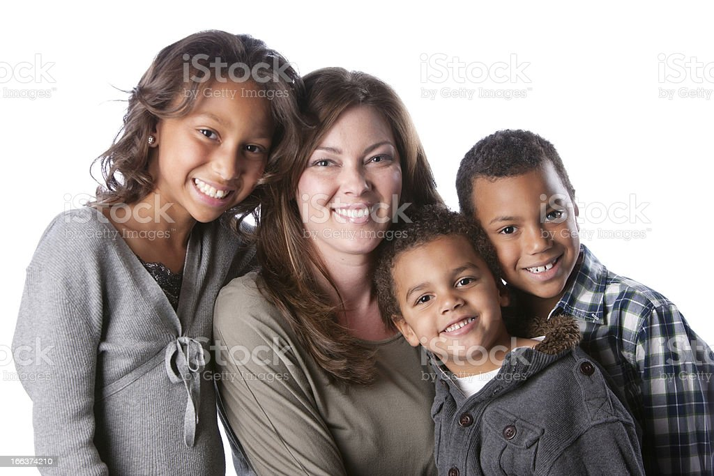 Real People: Mixed Race Family Mother Daughter Sons Head Shoulders royalty-free stock photo