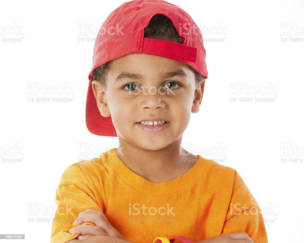 Real People: Mixed Race Little Boy Baseball Cap Head Shoulders royalty-free stock photo