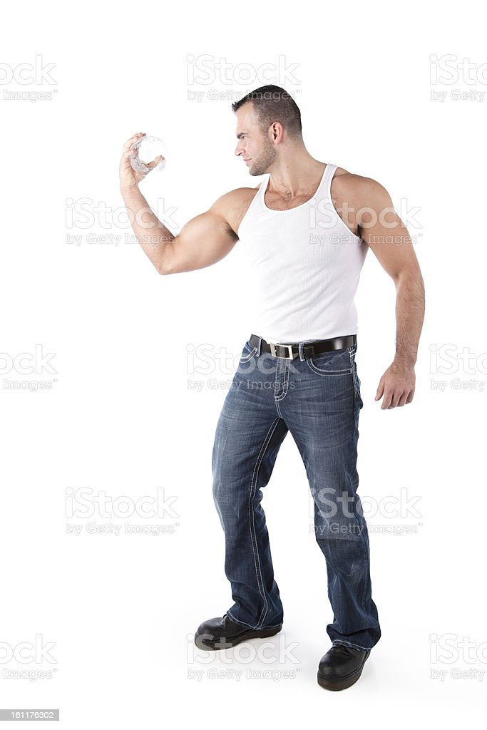 Real People: Muscular Strong Man Holding World In Hand stock photo
