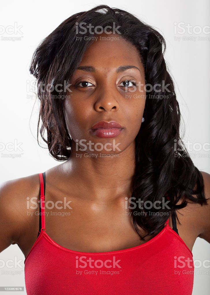Real People Portrait: Plain, Young African American Woman stock photo