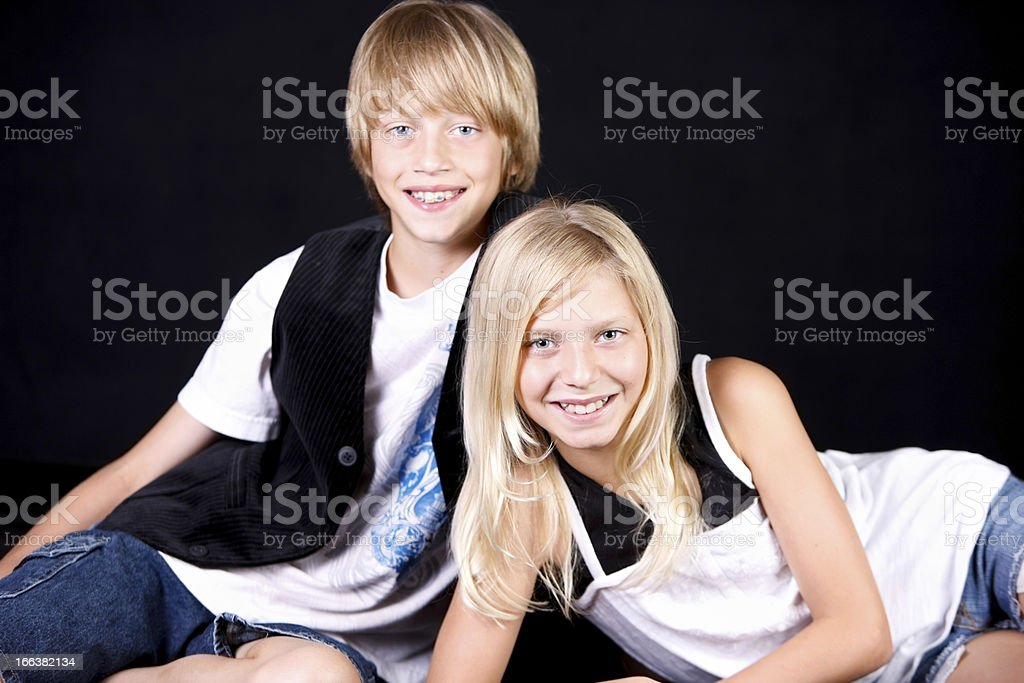 Real People: Smiling  Caucasian Twins Brother Sister Fraternal royalty-free stock photo