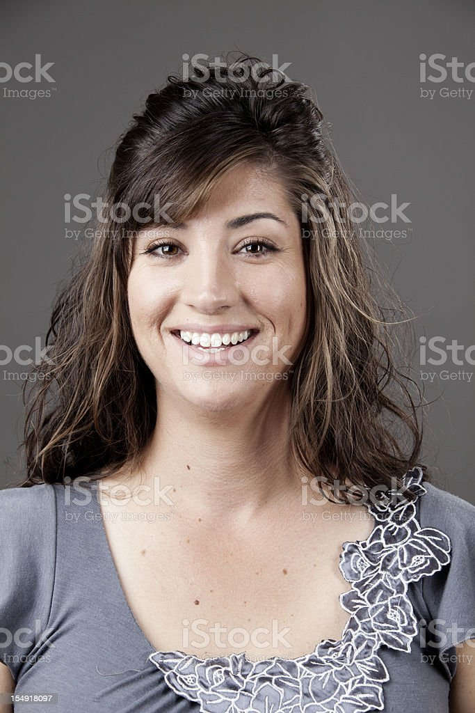 Real people: smiling woman in her 30s stock photo