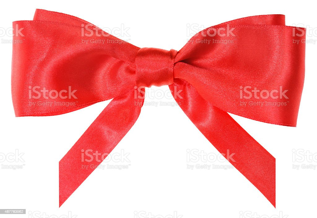 real red silk ribbon bow with vertically cut ends stock photo