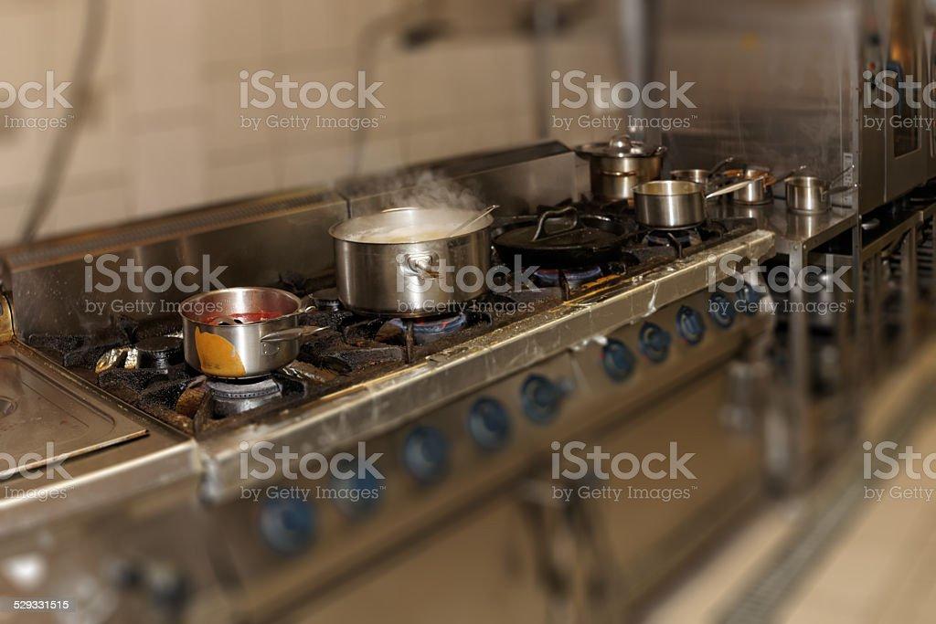Real restaurant kitchen stock photo