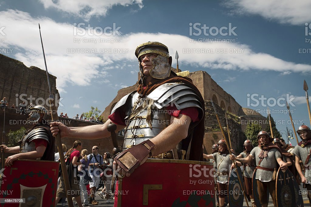 Real Roman Centurion Soldiers in a Costumes Parade royalty-free stock photo