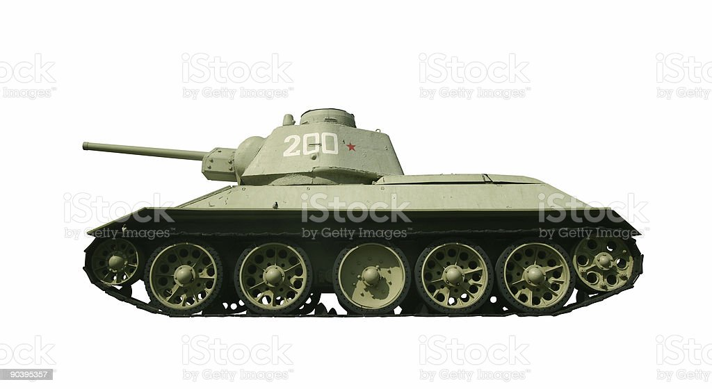 Real Russian tank from WW2 with path royalty-free stock photo