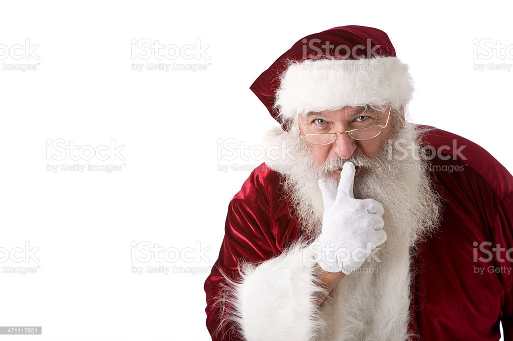 Real Santa Claus Being Quiet stock photo